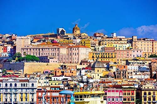 Cagliari, Sardinia, Italy - City Skyline A-9008362 (12x18 SIGNED Print Master Art Print - Wall Decor Poster)