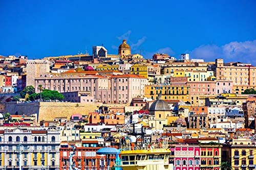 Cagliari, Sardinia, Italy - City Skyline A-9008362 (12x18 SIGNED Print Master Art Print - Wall Decor Poster)