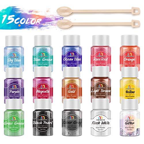 Pigmento para Resina Epoxi, Colorante Jabones 10g * 15 Colores - MENNYO Mica en Polvos Metálico Natural para Kit Hacer Velas, Fabrica Slime, Pintura, Sombra de Ojos, Maquillaje, Esmalte de Uñas