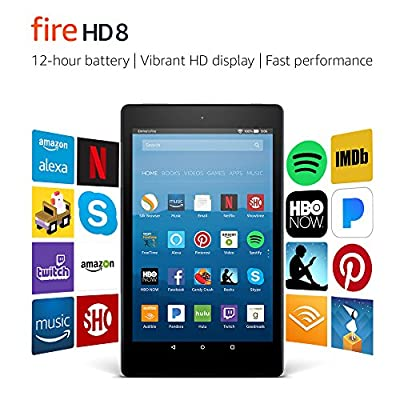 """Fire HD 8 Tablet with Alexa, 8"""" HD Display, 32 GB, Black - with Special Offers (Previous Generation – 7th) by Amazon"""