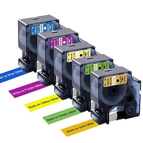 Aken kompatibel Schriftband als Ersatz für Dymo D1 12mm Etikettenband Dymo Colorpop D1 Schriftband für Dymo LabelManager 160 210D 280 420P, 12 mm x 3 m, 5er-Packung