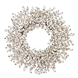 VGIA 22 inches ArtificialChristmas WreathWhite and Champagne Artificial Balls Wreath Front Door Wall Window