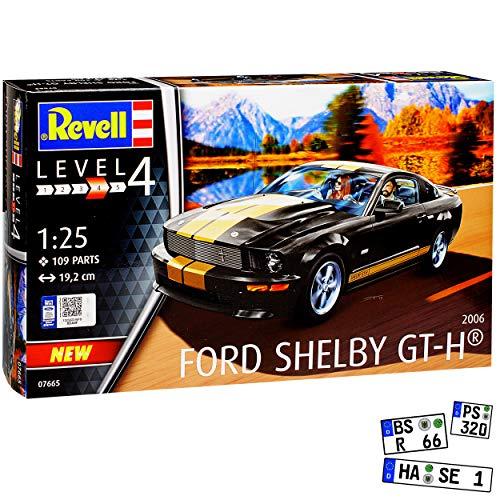 Ford Mustang V Shelby GT H Coupe Schwarz mit Gold Streifen 5. Generation 2004-2014 07665 Bausatz Kit 1/25 1/24 Revell Modell Auto mit individiuellem Wunschkennzeichen