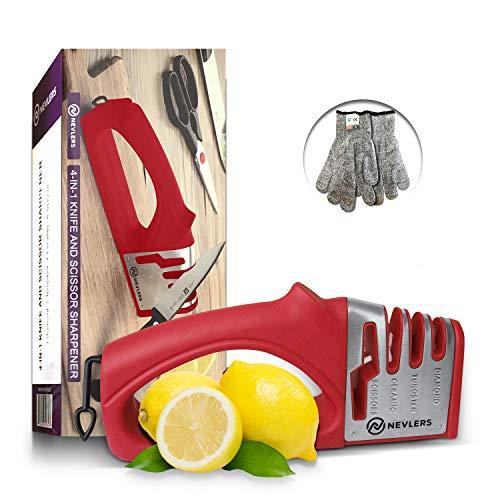 4 in 1 Knife Sharpener w/ Scissor Slot in Red - 2 Cut Resistant Gloves Included