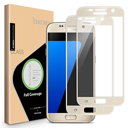 2X ICHECKEY 2.5D Edge Schutzfolie Samsung Galaxy S7 Panzerfolie aus Panzerglas Siebdruck Glasfolie Hartglas Vollbild Displayschutzfolie Schutzglas (Gold)