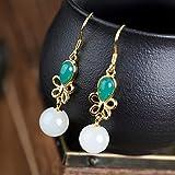 XAFXAL Pendientes De Mujer,Bohemio Y Tianyu Vintage 925 Silver Bow Verde Jade Beads Colgante Hipoalergénica Aretes para Boda Regalo De Cumpleaños Fiesta Pendientes Salvajes Mujeres