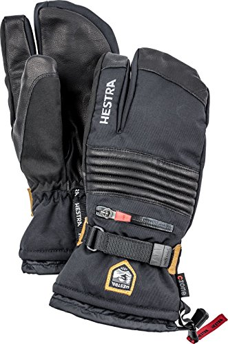 Hestra All Mountain CZone 3-Finger Glove - Waterproof, Versatile 3-Finger Glove for Skiing and Mountaineering - Black - 10