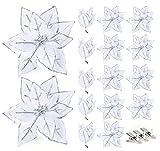 Agoer 16 Stück Glitter Weihnachten Blumen - künstliche Blumen mit 20 Haken Weihnachtsblumen Glitter Weihnachtsbaumschmuck Ornament Dekoration für Weihnachtsbaumdeko, Silber 15 cm