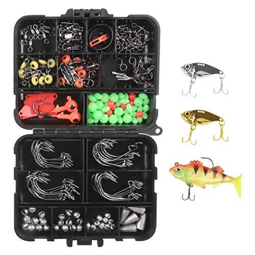 Attrezzatura Pesca Parkarma 207 Pezzi Esche da Pesca Kit Facile da Trasportare Kit Esche Attrezzatura Pesca Accessori per la Pesca in Acqua Dolce e Salata
