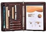 Carpeta de cartera de conferencias A4 Carpeta de cuero con cremallera 3 Carpeta de anillas Organizador de negocios para documentos Marrón oscuro
