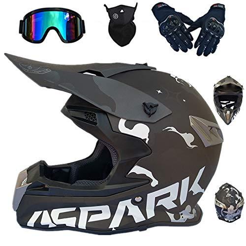 Casco de moto infantil para motocross, casco Goggle/guantes/máscara, para niño, casco integral BMX Quad Enduro Scooter, D. O. T Standard (negro,XXL)