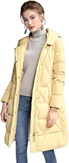 ZYDP Women Hooded Knee Length Down Jacket Zipper Plus Size Down Coats for Winter (Color : Yellow, Size : XL)