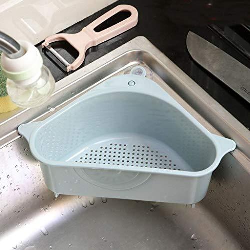 Yuansr Sink Caddy Triangular Drain Shelf Storage Rack Sponge Holder for Kitchen Sink Sucker for Kitchen Bathroom Support Corner Hanging Shelf (Color : Blue)