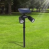 6 LED Lampe Solaire Projecteur Lumière de Sécurité Etanche Extérieur 2 en 1 Lampe...