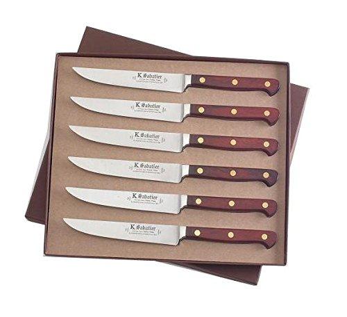 K SABATIER - Coffret De 6 Steaks 13 Cm Gamme Auvergne - Acier Inoxydable - Manche Bois - 100% Forge - Entièrement Fabrique en France
