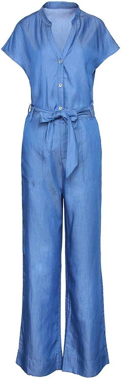 Cowboy Tencel Casual Fashion Suit Summer Female VNeck Wide Leg Pants Trousers TwoPiece (Size   S)
