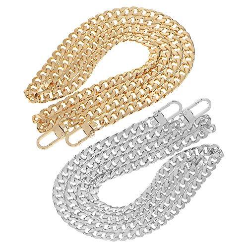 Tingz 2PCS Taschenketten Umhängetaschenkette Handtasche Cross Body Purse Ersatzkette,Ungeschweißte Metallketten mit Aluminiumverschlüssen(120cm/47 Zoll Gold und Silber)