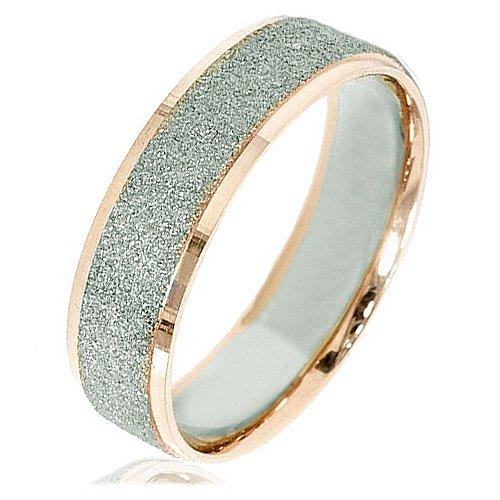 Gemini Damen-Ring Titan , Herren-Ring Titan , Freundschaftsringe , Hochzeitsringe , Eheringe, Bicolor, Breite 5mm Größe 46 (14.6)