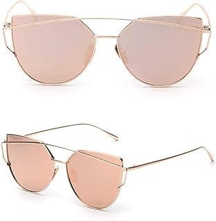 Womens Mirrored Flat Lens Metal Frame Cat Eye Sunglasses Gold Frame Pink Lens