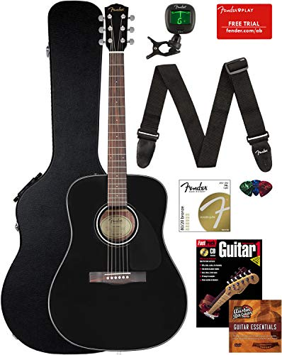 Fender CD-60 Dreadnought Acoustic Guitar Bundle with Hard Case, Strap, Tuner, Strings, Picks, Instructional Book, and Austin Bazaar Instructional DVD - Black