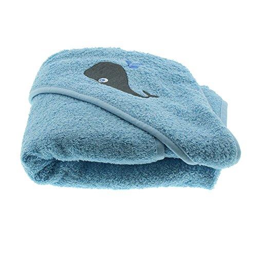 Pippi Baby Jungen Handtuch mit Kapuze, Walfisch, 83x83 cm, Farbe: Hellblau, 3823