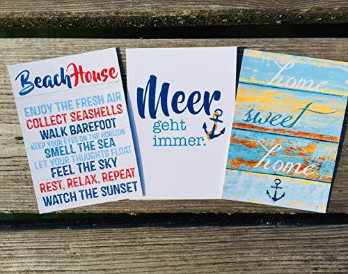 Beach House! Home sweet home! Meer geht immer! Postkarten Set 3 Stück AnneSvea postcard Urlaubsgrüße Camper Bus Wohnmobil Wohnwagen Van Deko Adventskalender Befüllung