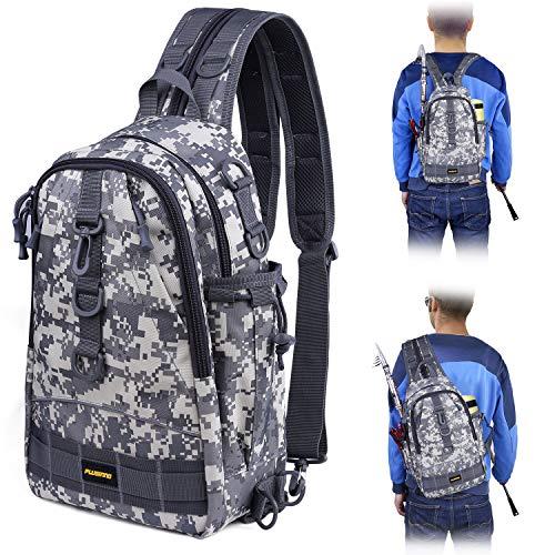 PLUSINNO Fishing Tackle Backpack Storage BagOutdoor Shoulder BackpackFishing Gear BagWater-Resistant Fishing Backpack with Rod Holder
