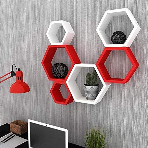 Fleurs De Rocaille - Set di 6 mensole da parete in legno, a forma esagonale, colore: Rosso e Bianco