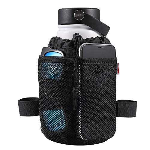 kemimoto 4-Straps Bike Water Bottle Holder with Tighter Buckle, Bicycle Handlebar Cup Holder Drink Holder with Mesh Pockets for Cruiser, Mountain, Fixed Gear, Folding, Road Bikes (6.3  1 Pack)
