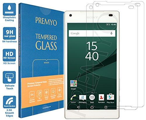 PREMYO 2 Stück Panzerglas Schutzglas Bildschirmschutzfolie Folie kompatibel für Sony Xperia Z5 Compact Blasenfrei HD-Klar Gegen Kratzer Fingerabdrücke