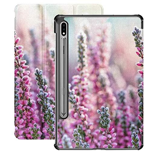 Estuche para Galaxy Tab S7 Estuche Delgado y Ligero con Soporte para Tableta Samsung Galaxy Tab S7 de 11 Pulgadas Sm-t870 Sm-t875 Sm-t878 2020 Release, Heather Frozen Flowers Bright Natural Cyan
