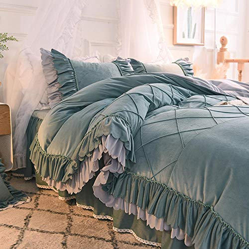 RESUXI teddy fleece bedding single blue,Winter princess wind bed thick double-sided velvet girl crystal quilt cover four-piece bedding-E_2.0m bed 4 pieces