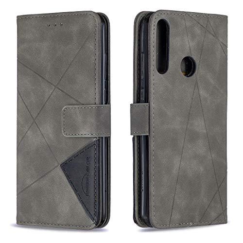 Tosim Huawei Y6p Hülle Klappbar Leder, Brieftasche Handyhülle Klapphülle mit Kartenhalter Stossfest Lederhülle für Huawei Y6p - TOBFE220349 Grau