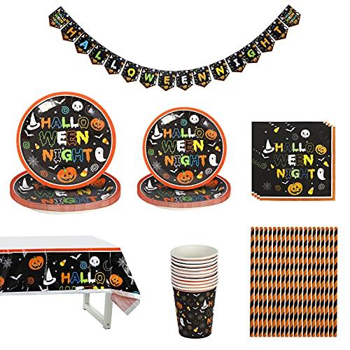 Juego de vajilla de Halloween, decoración de Halloween, juego de vajilla para Halloween, incluye platos, vasos, servilletas, mantel, pajitas, pancarta de decoración de Halloween
