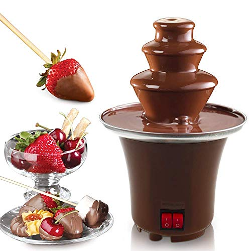 HOMEE Mini Chocolate Fondue Fountain Stainless Steel 3 Tier Cascading Deluxe Electric Dessert 2-3 lb Capacity for Party Wedding Hotel