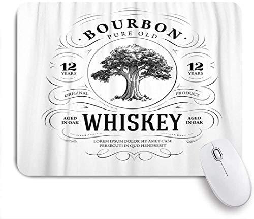 Gaming Mouse Pad rutschfeste Gummibasis, Etikett Vintage Whisky Eiche Alkohol Bourbon Acorn Strong, für Computer Laptop Office Desk