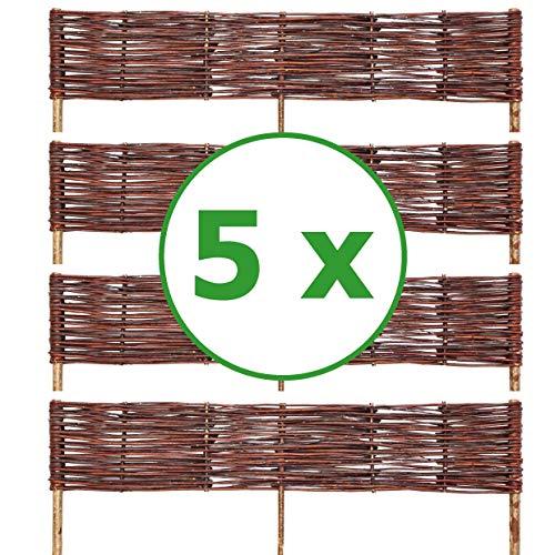 BOGATECO 5 x Beeteinfassung aus Weide | 100 cm Lang & 20 cm Hoch | Holz-Zaun Rasenkante | Weiden-Zaun Steckzaun Perfekt für den Garten als Weg-Abgrenzung