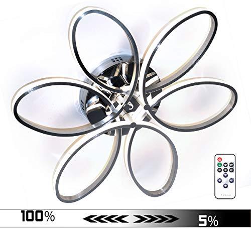 Dimmbar Neutralweiß + FB XL 60cm LED Deckenlampe Deckenleuchte Blume Design Leuchte Lampe kalt 48W Lewima Sakura