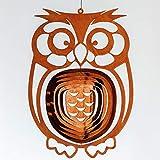 Dekostüberl Rostalgie Edelrost Windspiel Eule filigran 25x18cm, inkl. Herz 8x6cm Gartendekoration Geschenk Vögel