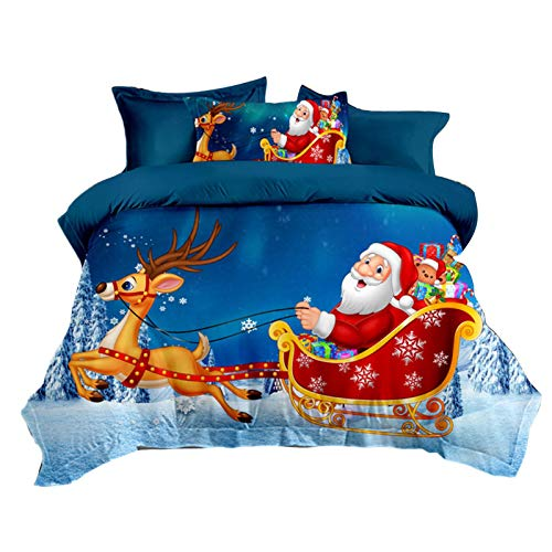 rosemaryrose Santa Quilt Duvet Cover And Pillowcase Bedding Bed Set,Quilt Cover Set -Washable Comfortable Bedding Duvet Encasement