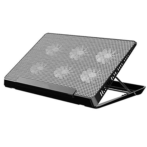 Portátil de la base del radiador del portátil USB 6 puede acelerar el ventilador de aluminio almohadilla de aluminio almohadilla portátil almohadilla (Negro) (Color: Imagen 1, Tamaño: 39x24.5cm)