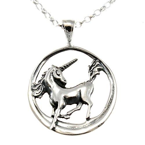 Touch Jewellery - Ciondolo con catenina a forma di unicorno, in argento Sterling, lunghezza 46 cm