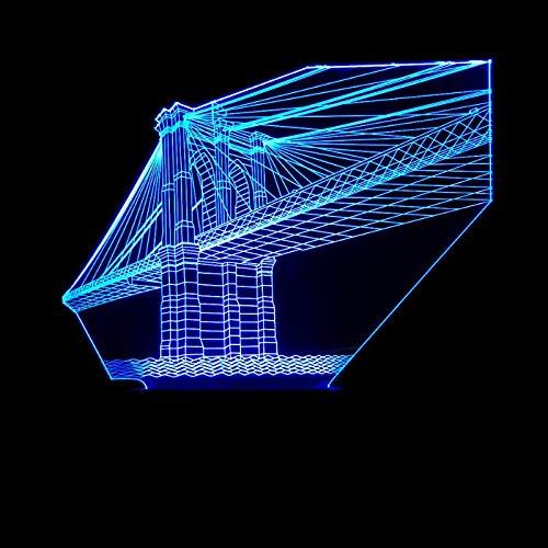 Nuit Lumière Illusions Optiques 3D LED Lampe Bijoux en cristal de pont d'art architectural Ramba de 7 Couleurs Tactile Chevet Table Art Déco Enfant avec Cable USB pour Fille Fils Cadeau Surprise Deco