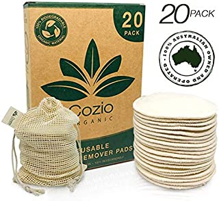 20x Reusable Makeup Remover Pads - Reusable Cotton Pads - Pad Makeup Wipe Reusable - Zero-Waste, Natural & Organic Face Wipes - Soft & Durable Cotton Pads - Organic Hemp, Cotton Fabric - Includes a Natural Cotton Bag
