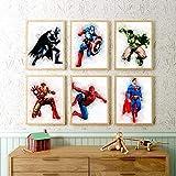 HUANGXLL Superhero Wall Art Canvas Painting Wall Decor, Watercolor Superhero Cartoon Character Posters-30x40cmx6 No Frame