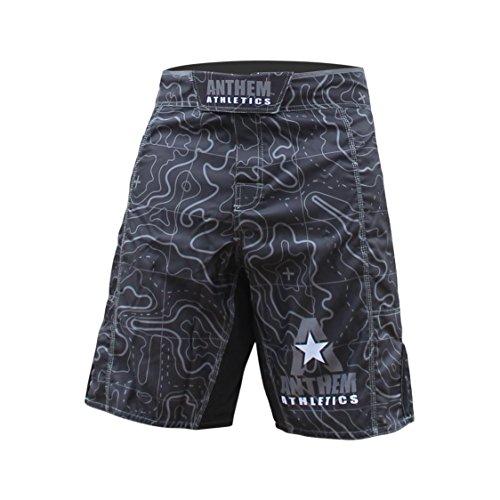 Anthem Athletics Resilience MMA Shorts - Fight Shorts, BJJ, WOD, Cross-Training, OCR - Black Topography - 34'