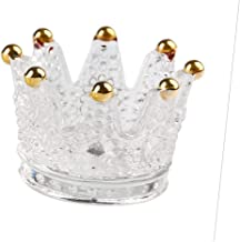 Flameer European Style Crown Candlestick Crystal Glass Practical Tea Light Stand Gift Wedding European Candle Holder