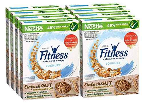 Nestlé Fitness Joghurt, Frühstückscerealien mit Vollkorn und teilweise Joghurtgeschmack, 8er Pack (8 x 350 g)