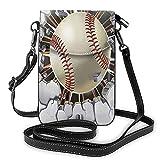 Piccola borsa a tracolla per le donne cellulare borse a tracolla titolare della carta portafoglio borsa, (Baseball Vecchio Intonaco Parete Calcestruzzo Danni Nero), Taglia unica
