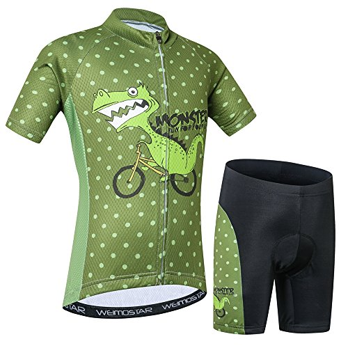 Fahrradtrikot für Kinder, kurzärmelig, Cartoon-Rennradtrikot, Mountainbike-Set, Top/Shorts für Mädchen und Jungen, atmungsaktiv, Dinosaurier (Grün), Groß